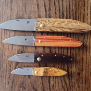 those come in four sizes, with carbon steel blade, or damascus.