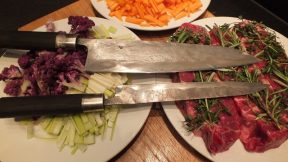 I have made these cooking knives recently for Klaus. The gyuto is san-mai with iron and sc145 core, the Petty is full steel sc145. Both are mounted with  fusioned and patinated silver ferrule and black brushed bog oak. 